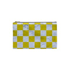 Square1 White Marble & Yellow Leather Cosmetic Bag (small)  by trendistuff