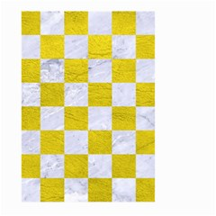 Square1 White Marble & Yellow Leather Large Garden Flag (two Sides) by trendistuff