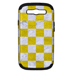 Square1 White Marble & Yellow Leather Samsung Galaxy S Iii Hardshell Case (pc+silicone) by trendistuff