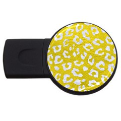 Skin5 White Marble & Yellow Leather (r) Usb Flash Drive Round (2 Gb) by trendistuff