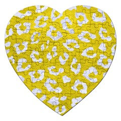 Skin5 White Marble & Yellow Leather (r) Jigsaw Puzzle (heart)