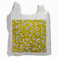 Skin5 White Marble & Yellow Leather (r) Recycle Bag (two Side)  by trendistuff