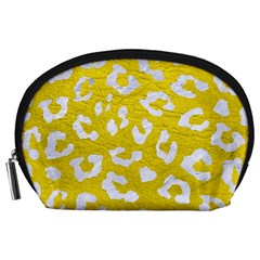 Skin5 White Marble & Yellow Leather (r) Accessory Pouches (large)  by trendistuff