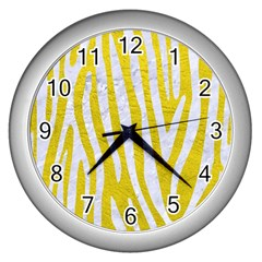 Skin4 White Marble & Yellow Leather (r) Wall Clocks (silver)  by trendistuff