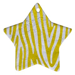 Skin4 White Marble & Yellow Leather (r) Star Ornament (two Sides) by trendistuff