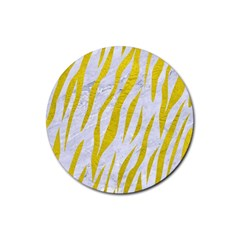 Skin3 White Marble & Yellow Leather (r)skin3 White Marble & Yellow Leather (r) Rubber Coaster (round)  by trendistuff