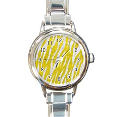 Skin3 White Marble & Yellow Leather Round Italian Charm Watch by trendistuff
