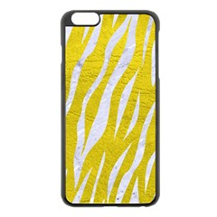 Skin3 White Marble & Yellow Leather Apple Iphone 6 Plus/6s Plus Black Enamel Case by trendistuff