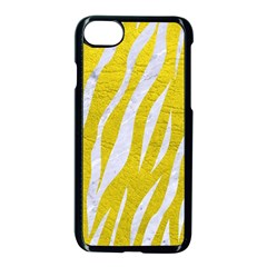 Skin3 White Marble & Yellow Leather Apple Iphone 8 Seamless Case (black) by trendistuff