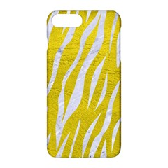 Skin3 White Marble & Yellow Leather Apple Iphone 8 Plus Hardshell Case by trendistuff
