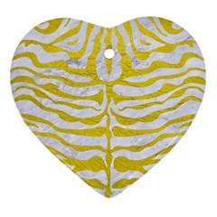 Skin2 White Marble & Yellow Leather (r) Ornament (heart) by trendistuff