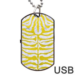 Skin2 White Marble & Yellow Leather (r) Dog Tag Usb Flash (two Sides) by trendistuff