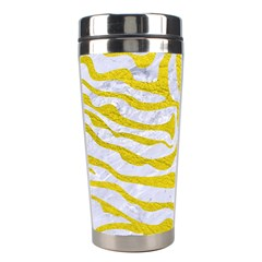 Skin2 White Marble & Yellow Leather (r) Stainless Steel Travel Tumblers by trendistuff