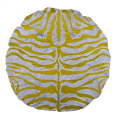 Skin2 White Marble & Yellow Leather (r) Large 18  Premium Flano Round Cushions by trendistuff