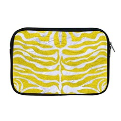 Skin2 White Marble & Yellow Leather Apple Macbook Pro 17  Zipper Case by trendistuff