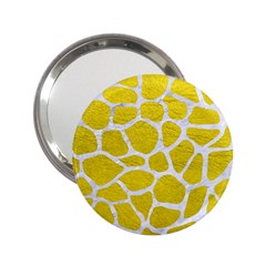 Skin1 White Marble & Yellow Leather (r) 2 25  Handbag Mirrors by trendistuff