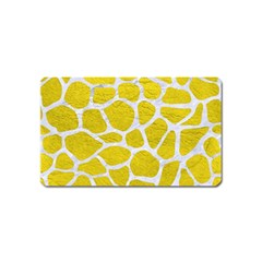 Skin1 White Marble & Yellow Leather (r) Magnet (name Card) by trendistuff