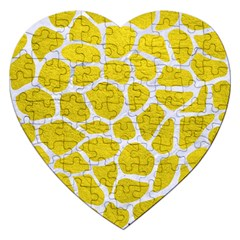Skin1 White Marble & Yellow Leather (r) Jigsaw Puzzle (heart) by trendistuff