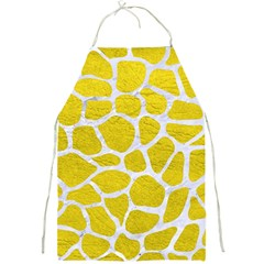 Skin1 White Marble & Yellow Leather (r) Full Print Aprons by trendistuff