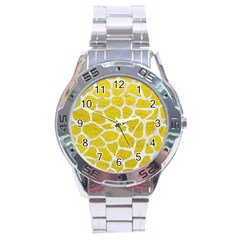 Skin1 White Marble & Yellow Leather (r) Stainless Steel Analogue Watch by trendistuff