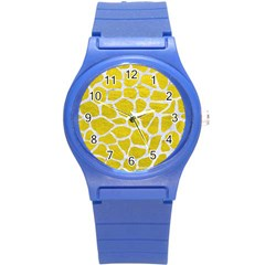 Skin1 White Marble & Yellow Leather (r) Round Plastic Sport Watch (s) by trendistuff
