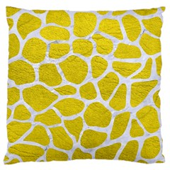 Skin1 White Marble & Yellow Leather (r) Large Cushion Case (two Sides) by trendistuff