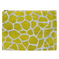 Skin1 White Marble & Yellow Leather (r) Cosmetic Bag (xxl)