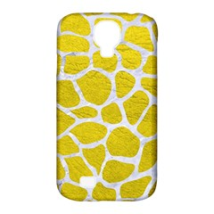 Skin1 White Marble & Yellow Leather (r) Samsung Galaxy S4 Classic Hardshell Case (pc+silicone)