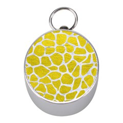 Skin1 White Marble & Yellow Leather (r) Mini Silver Compasses by trendistuff