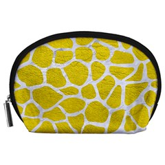 Skin1 White Marble & Yellow Leather (r) Accessory Pouches (large)  by trendistuff