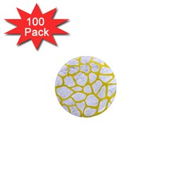 Skin1 White Marble & Yellow Leather 1  Mini Magnets (100 Pack)  by trendistuff