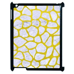 Skin1 White Marble & Yellow Leather Apple Ipad 2 Case (black) by trendistuff