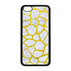 Skin1 White Marble & Yellow Leather Apple Iphone 5c Seamless Case (black) by trendistuff