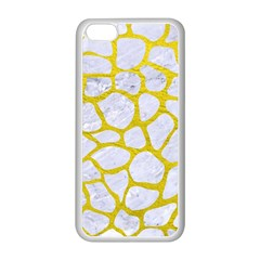 Skin1 White Marble & Yellow Leather Apple Iphone 5c Seamless Case (white) by trendistuff