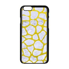 Skin1 White Marble & Yellow Leather Apple Iphone 6/6s Black Enamel Case by trendistuff
