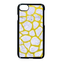 Skin1 White Marble & Yellow Leather Apple Iphone 8 Seamless Case (black) by trendistuff