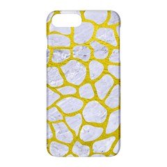 Skin1 White Marble & Yellow Leather Apple Iphone 8 Plus Hardshell Case by trendistuff