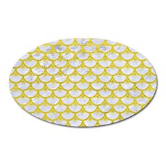 Scales3 White Marble & Yellow Leather (r) Oval Magnet by trendistuff
