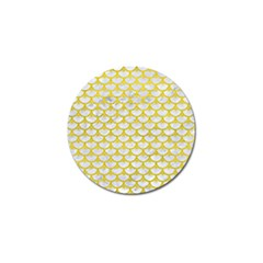 Scales3 White Marble & Yellow Leather (r) Golf Ball Marker by trendistuff