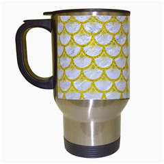 Scales3 White Marble & Yellow Leather (r) Travel Mugs (white) by trendistuff