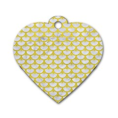 Scales3 White Marble & Yellow Leather (r) Dog Tag Heart (one Side) by trendistuff