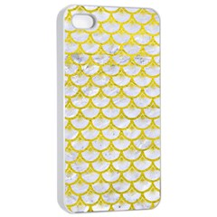 Scales3 White Marble & Yellow Leather (r) Apple Iphone 4/4s Seamless Case (white) by trendistuff