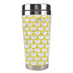 Scales3 White Marble & Yellow Leather (r) Stainless Steel Travel Tumblers