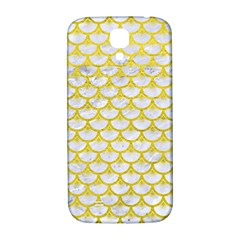 Scales3 White Marble & Yellow Leather (r) Samsung Galaxy S4 I9500/i9505  Hardshell Back Case by trendistuff