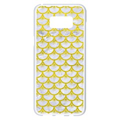 Scales3 White Marble & Yellow Leather (r) Samsung Galaxy S8 Plus White Seamless Case by trendistuff