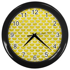Scales3 White Marble & Yellow Leather Wall Clocks (black) by trendistuff