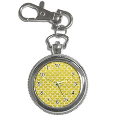 Scales3 White Marble & Yellow Leather Key Chain Watches by trendistuff