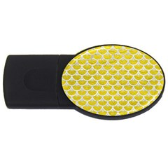 Scales3 White Marble & Yellow Leather Usb Flash Drive Oval (2 Gb)