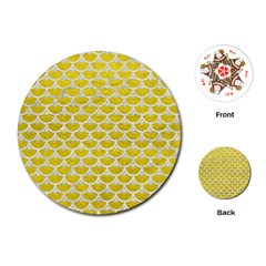 Scales3 White Marble & Yellow Leather Playing Cards (round)  by trendistuff