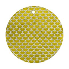 Scales3 White Marble & Yellow Leather Round Ornament (two Sides) by trendistuff
